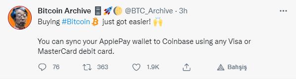 Kullanıcıları Coinbase Üzerinden Apple Pay Ile Kripto Para Satın Alabilecek