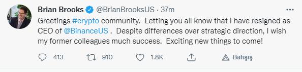 Brain Brooks istifa etti